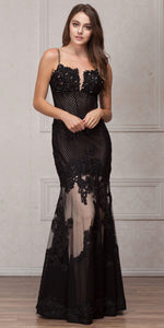 Image of Spaghetti Straps Sequins Lace Mesh Long Prom Pageant Gown in Black
