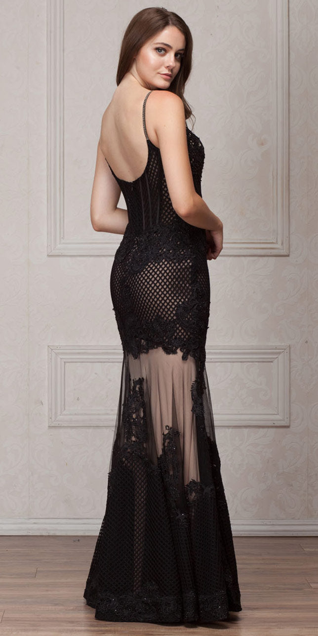 Back image of Spaghetti Straps Sequins Lace Mesh Long Prom Pageant Gown