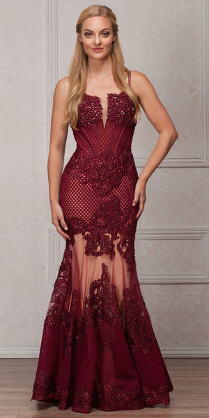 Image of Spaghetti Straps Sequins Lace Mesh Long Prom Pageant Gown in Burgundy