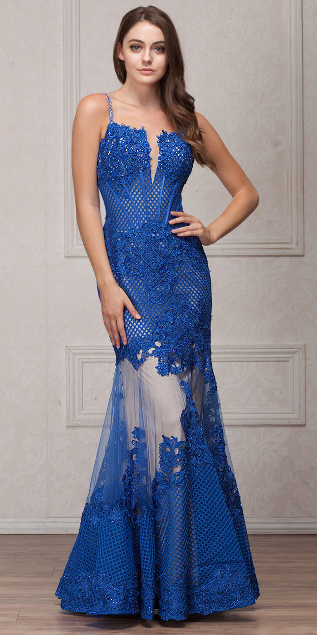 Main image of Spaghetti Straps Sequins Lace Mesh Long Prom Pageant Gown