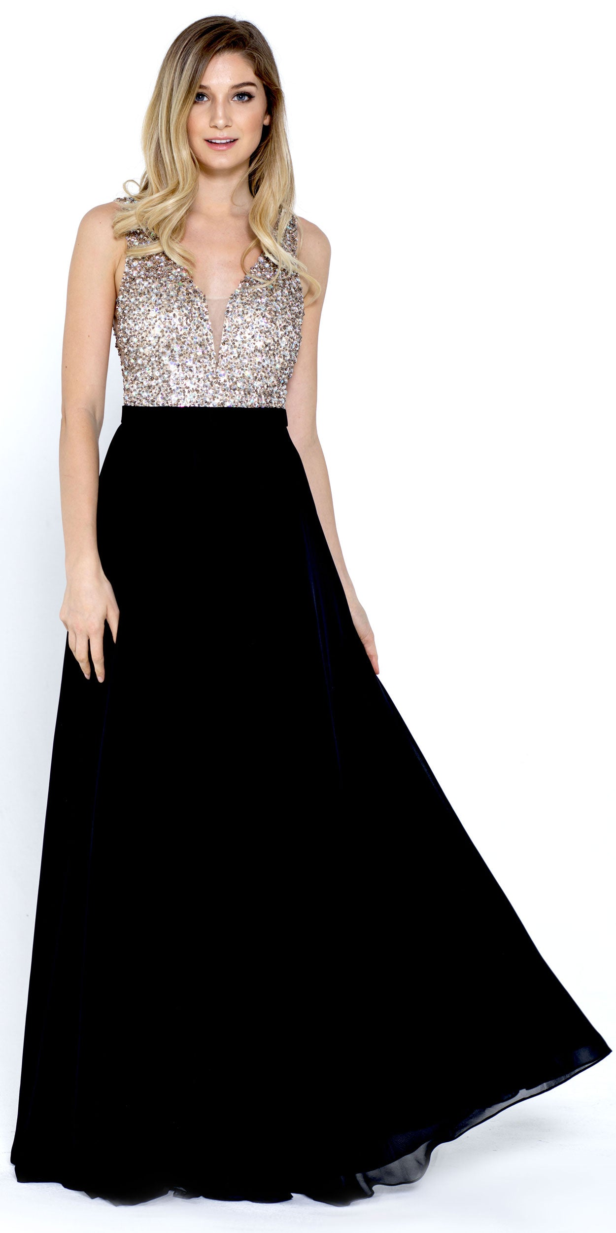 Image of Bejeweled Bodice V-neck Sleeveless Long Prom Dress in Black