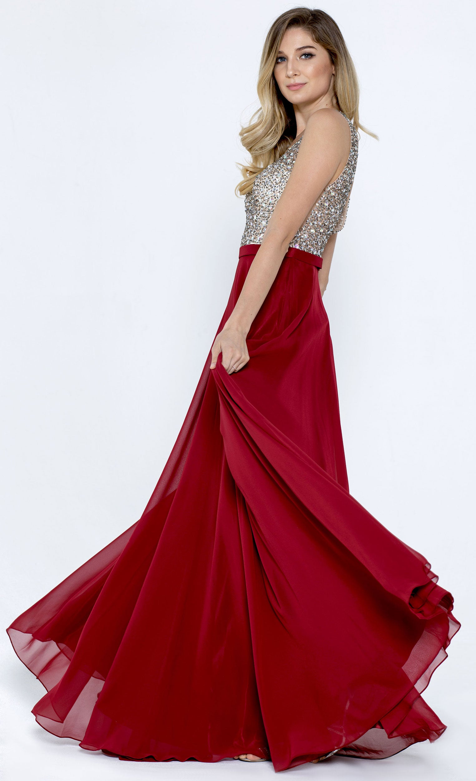 Main image of Bejeweled Bodice V-neck Sleeveless Long Prom Dress