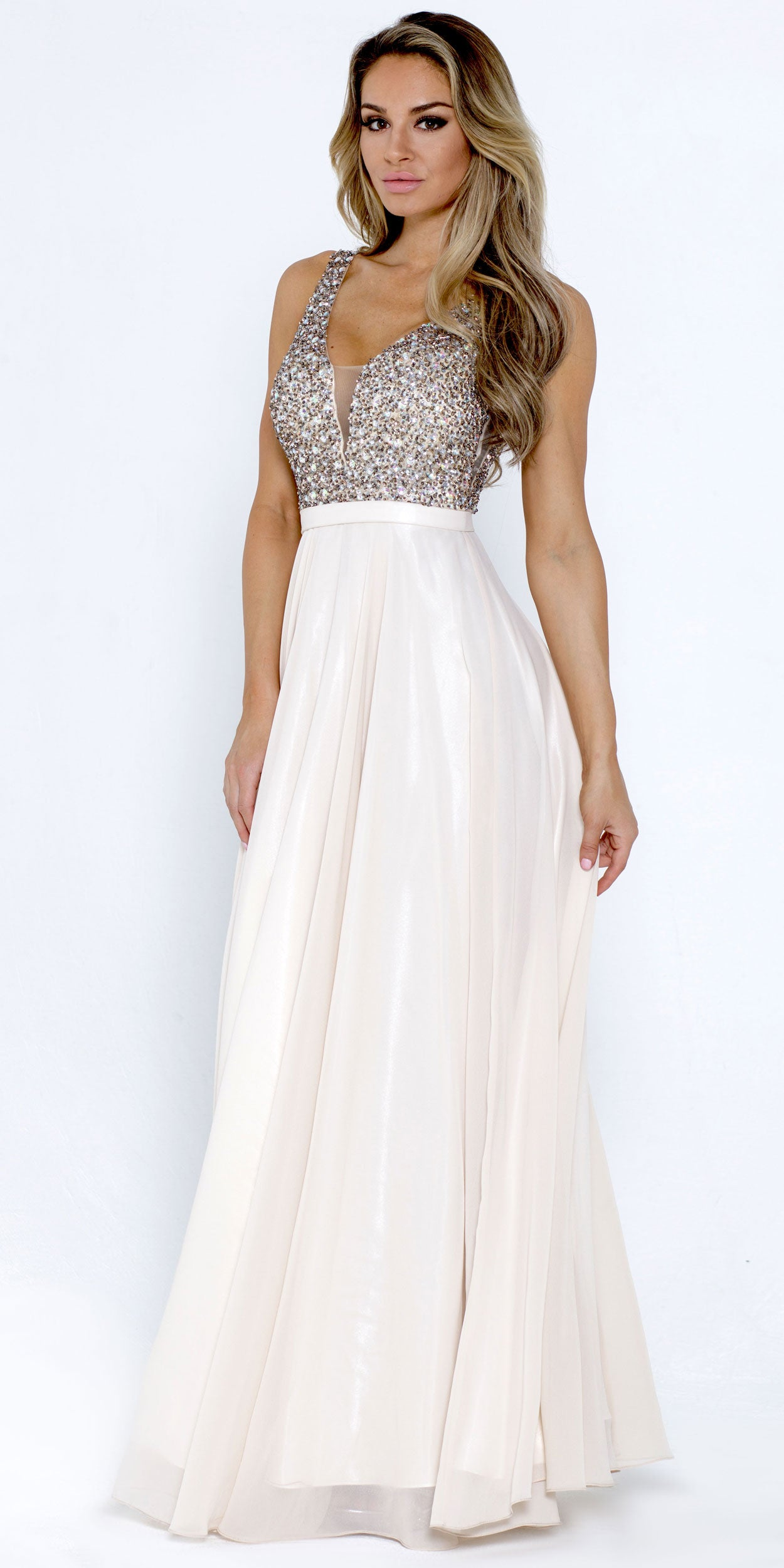 Image of Bejeweled Bodice V-neck Sleeveless Long Prom Dress in Champaign
