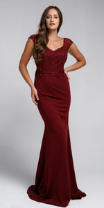 Image of Sweatheart Neckline Embroidered Evening Gown in Burgundy