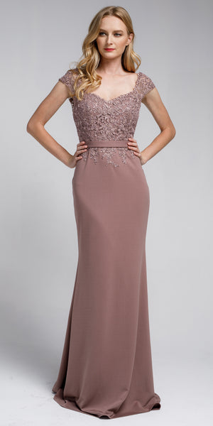 Image of Sweatheart Neckline Embroidered Evening Gown in Dusty Rose