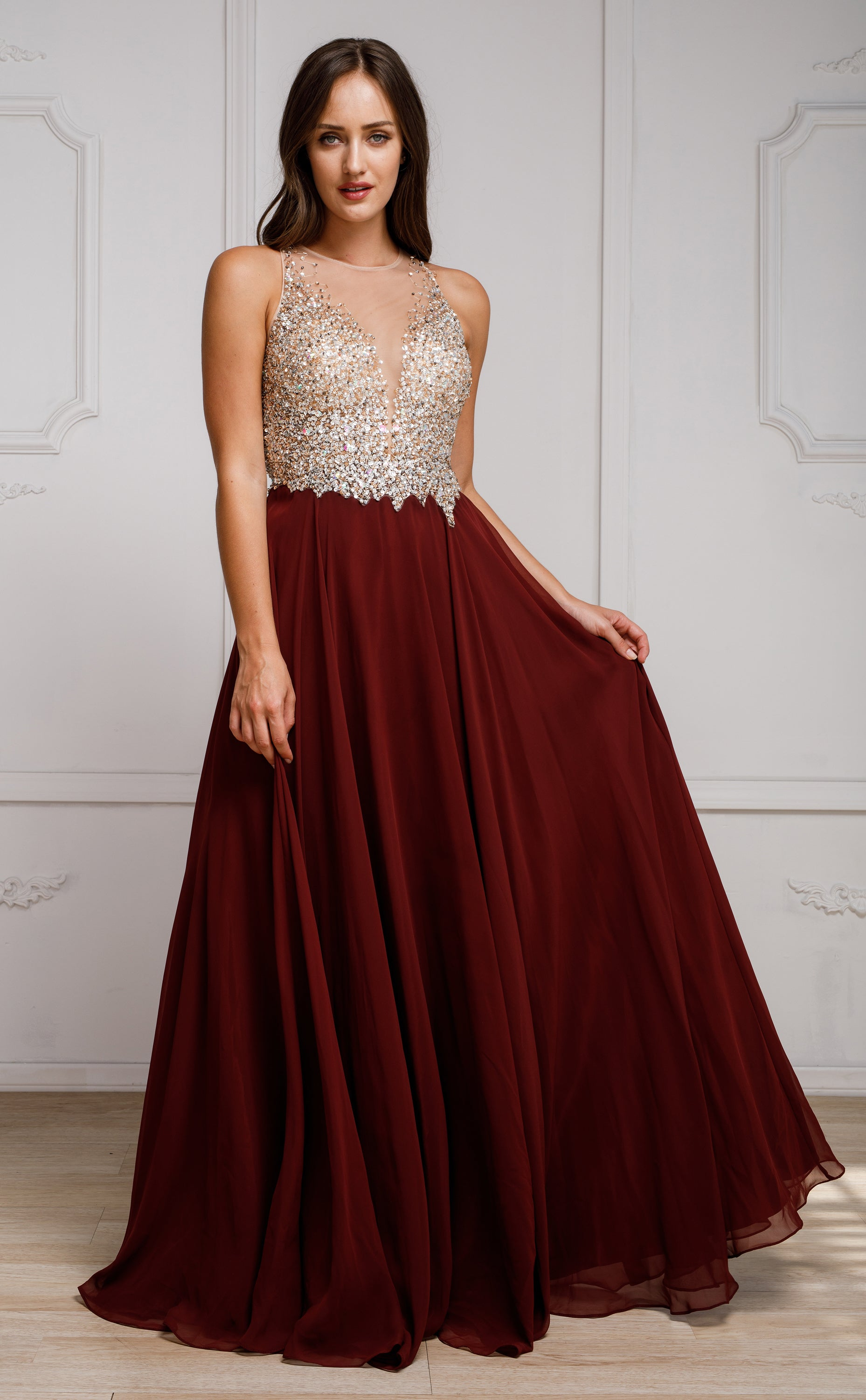 Image of Sequined Plunging Neckine Prom Gown in Burgundy