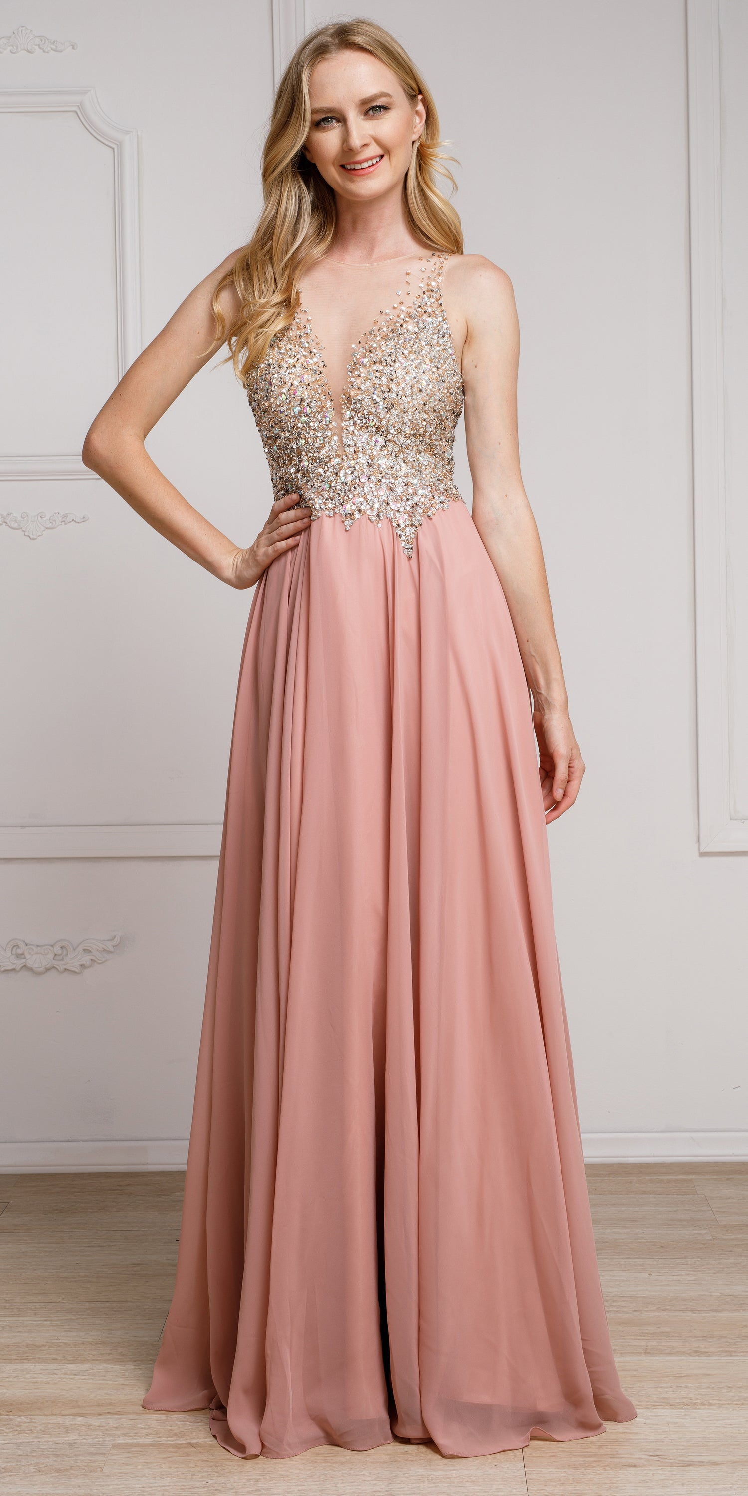 Image of Sequined Plunging Neckine Prom Gown in Dusty Rose