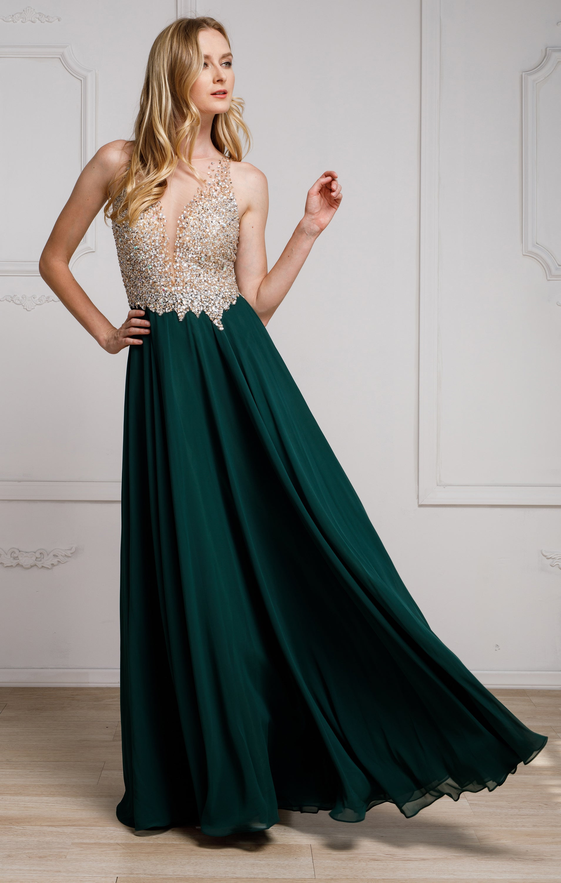 Main image of Sequined Plunging Neckine Prom Gown