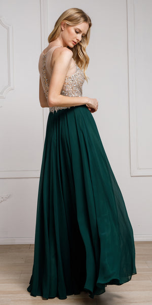 Image of Sequined Plunging Neckine Prom Gown in an alternative image