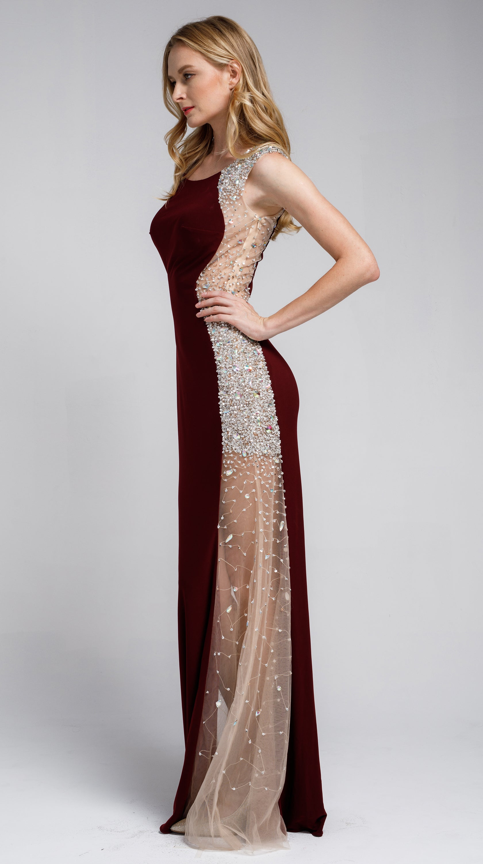 Image of Silhouette Styles Prom Gown With Rhinestone Accents in an alternative image