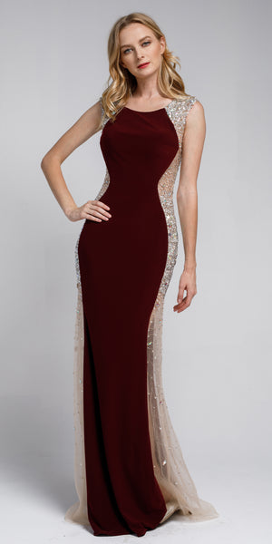Image of Silhouette Styles Prom Gown With Rhinestone Accents in Burgundy