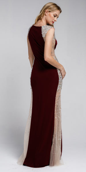 Back image of Silhouette Styles Prom Gown With Rhinestone Accents