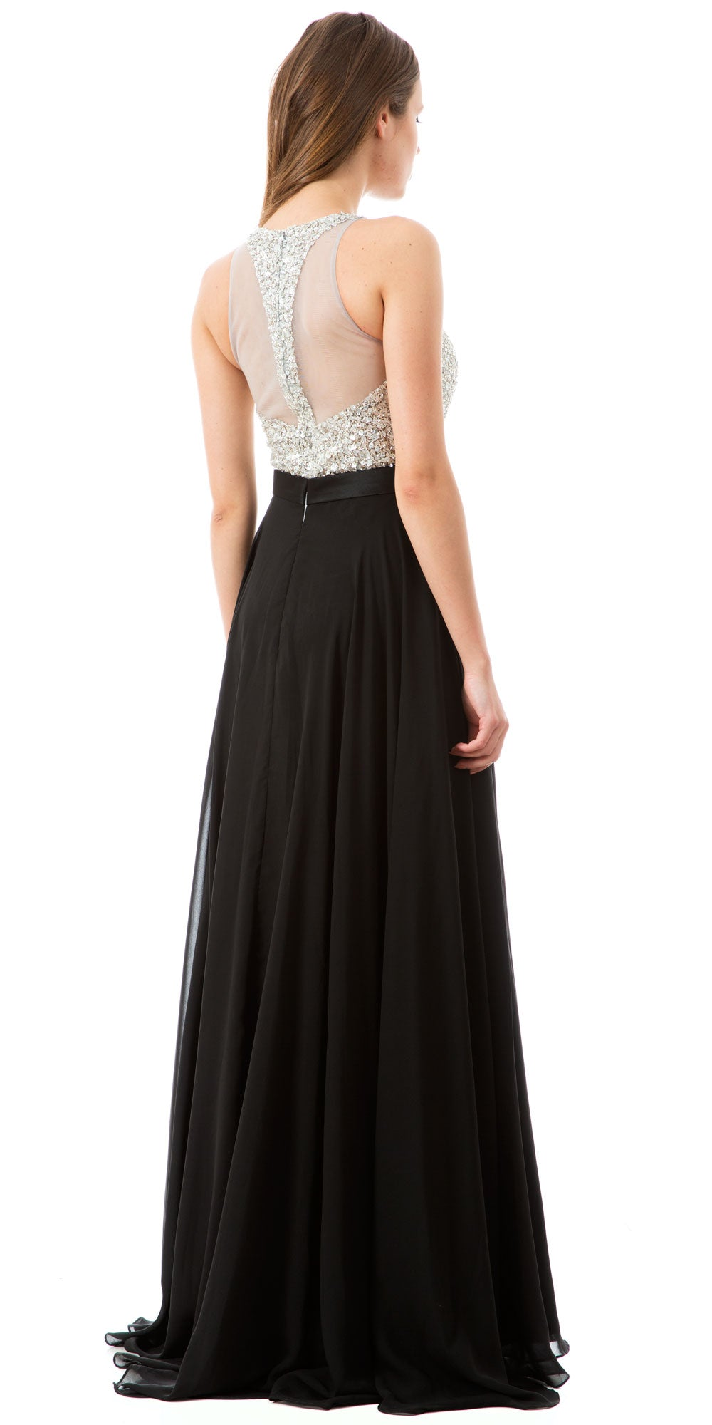 Back image of Jewel Bodice Chiffon Skirt Long Formal Prom Dress