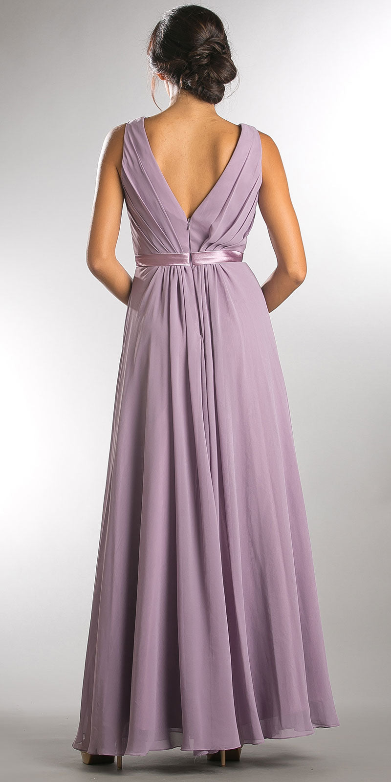 Image of V-neck Sleeveless Ruched Bodice Long Bridesmaid Dress back in Lavender