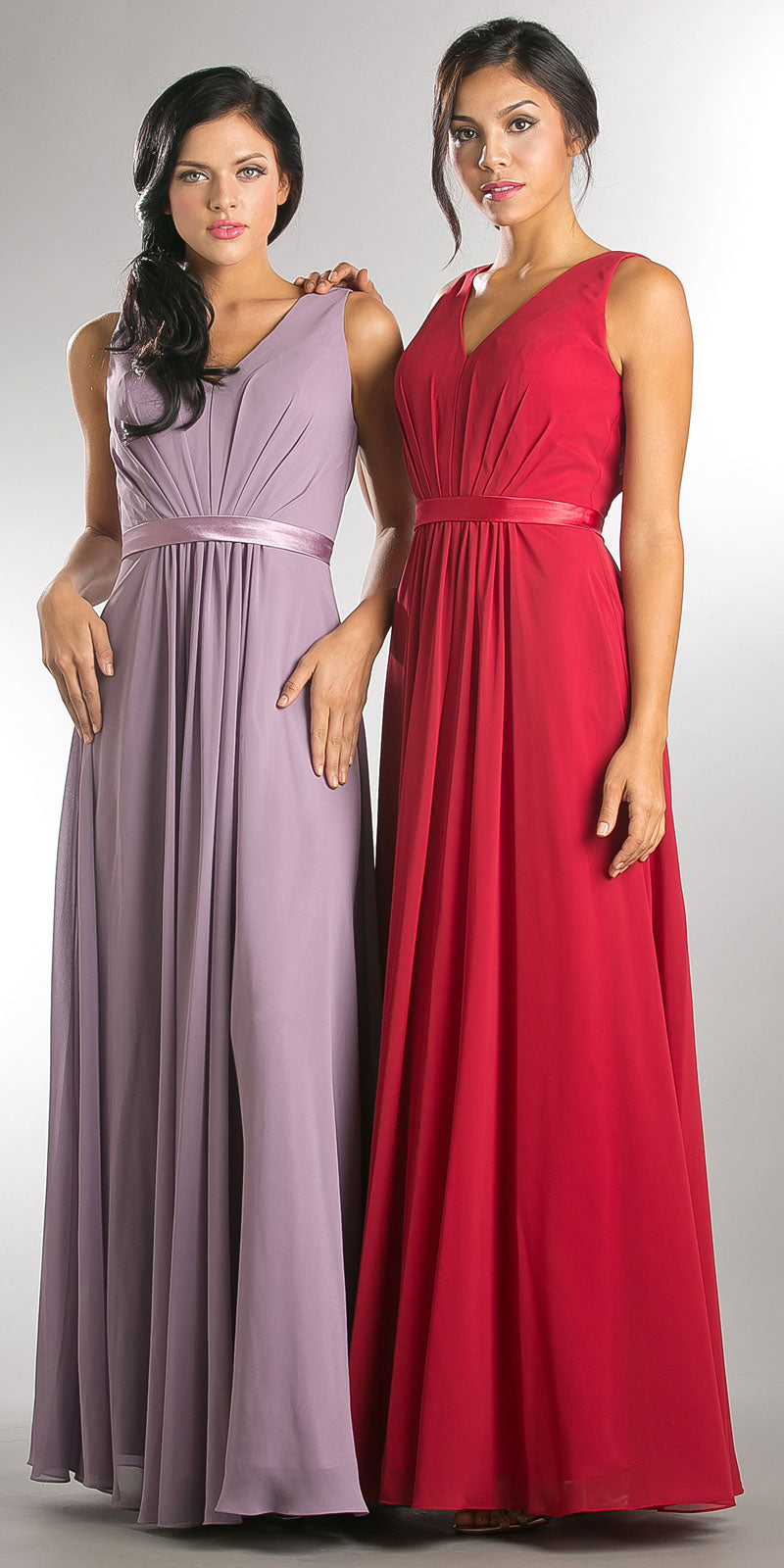 Image of V-neck Sleeveless Ruched Bodice Long Bridesmaid Dress in an alternate image