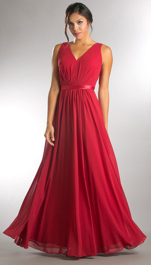 Image of V-neck Sleeveless Ruched Bodice Long Bridesmaid Dress in Red