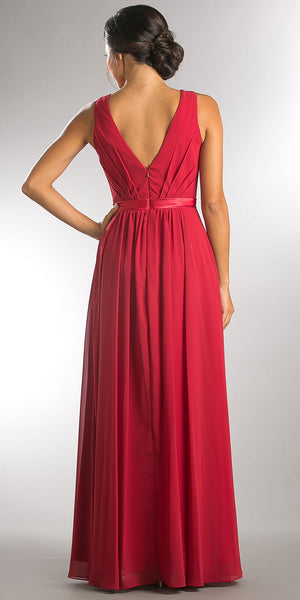 Back image of V-neck Sleeveless Ruched Bodice Long Bridesmaid Dress