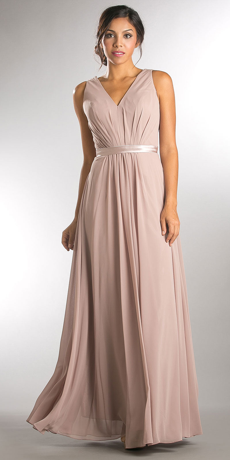 Image of V-neck Sleeveless Ruched Bodice Long Bridesmaid Dress in Taupe