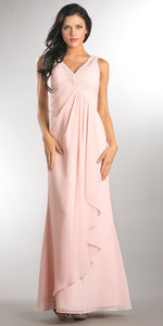 Image of V-neck Ruched Twist Knot Bust Long Bridesmaid Dress in Blush