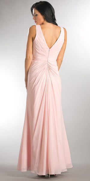 Back image of V-neck Ruched Twist Knot Bust Long Bridesmaid Dress