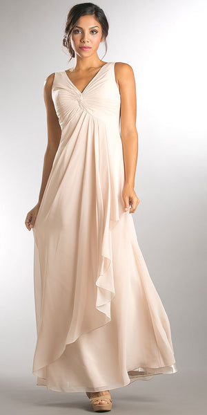Image of V-neck Ruched Twist Knot Bust Long Bridesmaid Dress in Champaign