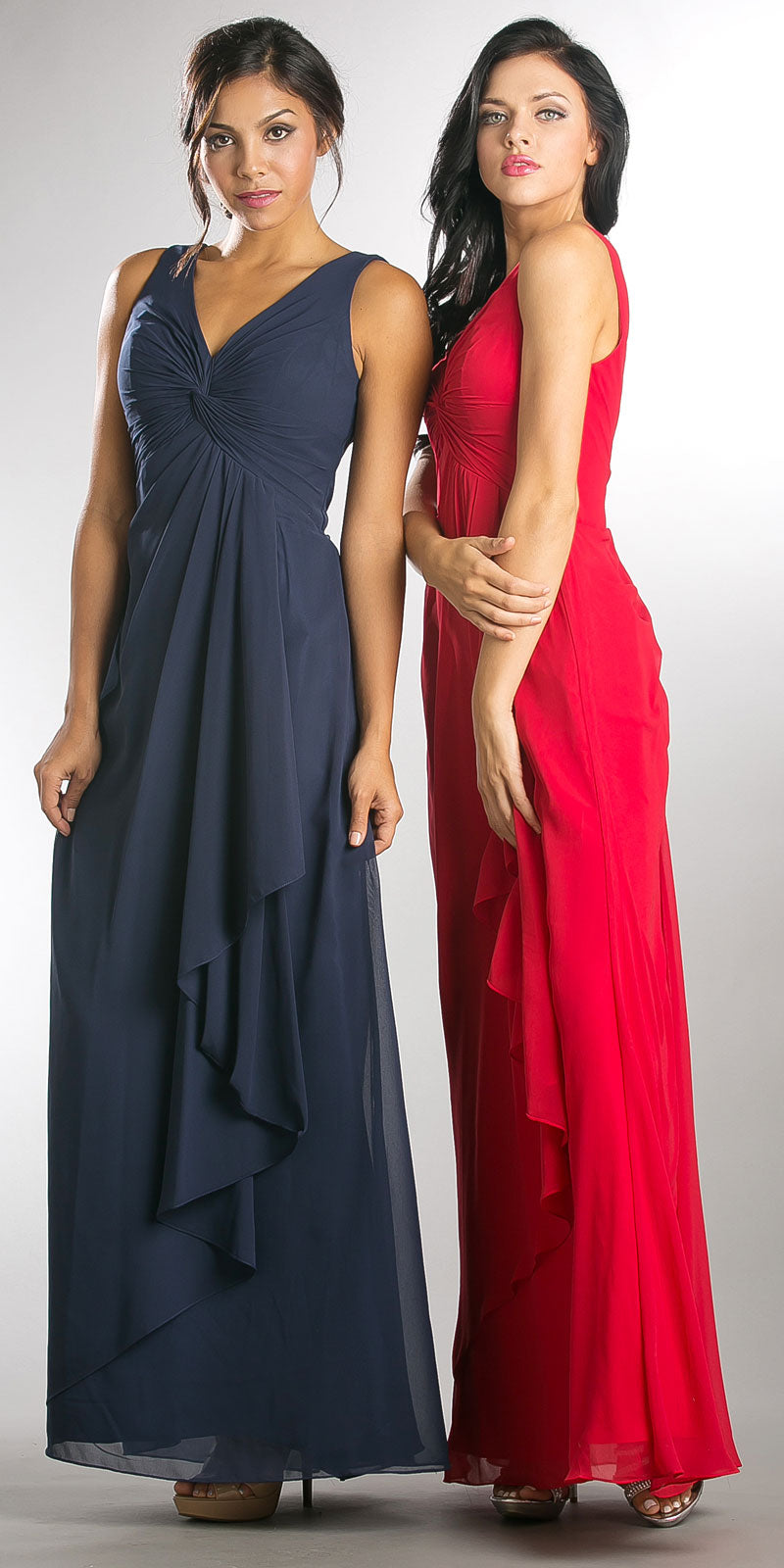 Image of V-neck Ruched Twist Knot Bust Long Bridesmaid Dress in an alternate image