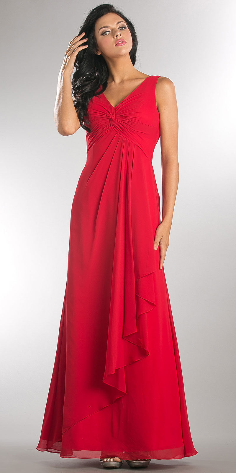 Image of V-neck Ruched Twist Knot Bust Long Bridesmaid Dress in Red