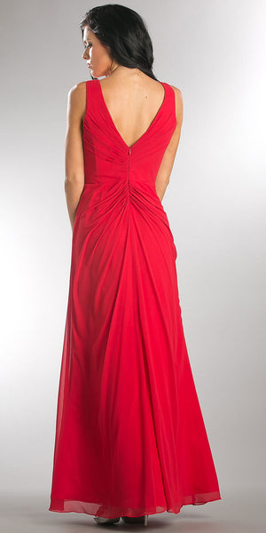 Image of V-neck Ruched Twist Knot Bust Long Bridesmaid Dress back in Red