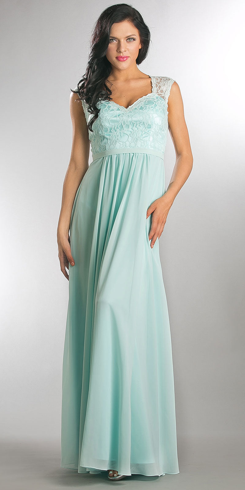 Image of V-neck Lace Top Empire Cut Long Bridesmaid Dress in Aqua