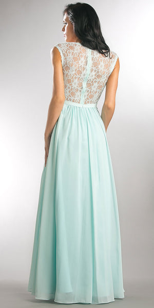 Image of V-neck Lace Top Empire Cut Long Bridesmaid Dress back in Aqua