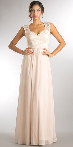 Image of V-neck Lace Top Empire Cut Long Bridesmaid Dress in Champaign