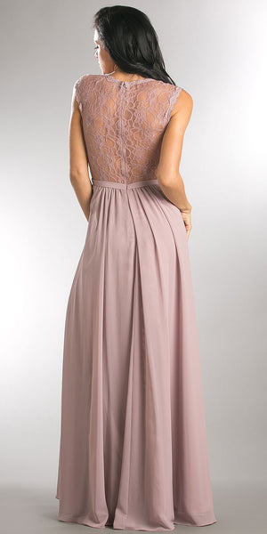 Back image of V-neck Lace Top Empire Cut Long Bridesmaid Dress