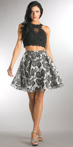 Main image of Lace Embellished Crop Top With Floral Print Puffy Skirt