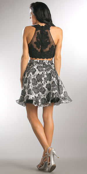 Back image of Lace Embellished Crop Top With Floral Print Puffy Skirt