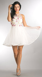 Main image of Floral Lace Bodice Short Tulle Homecoming Dress