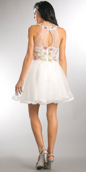Back image of Floral Lace Bodice Short Tulle Homecoming Dress