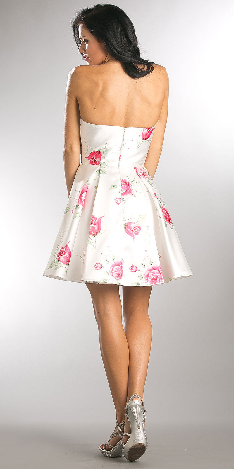 Back image of Strapless Sweetheart Neck Rose Print Short Homecoming Dress