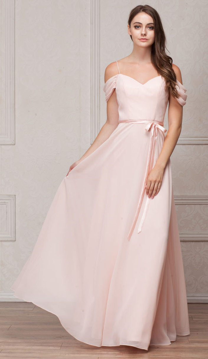Image of Spaghetti Straps Cold-shoulder Long Bridesmaid Dress in Blush