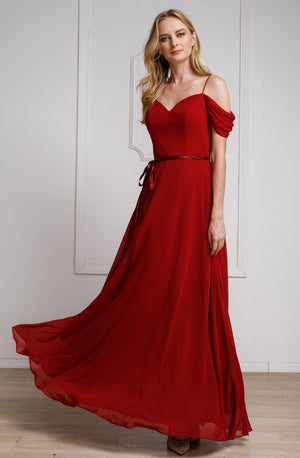 Main image of Spaghetti Straps Cold-shoulder Long Bridesmaid Dress