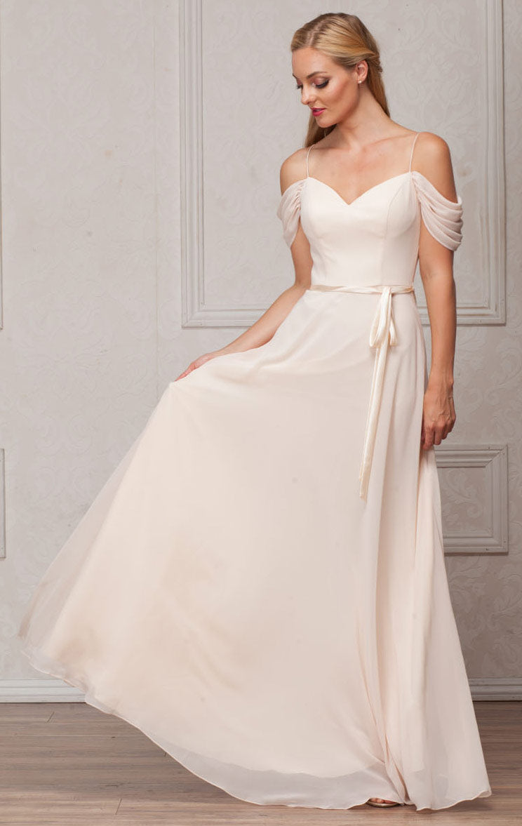 Image of Spaghetti Straps Cold-shoulder Long Bridesmaid Dress in Champaign