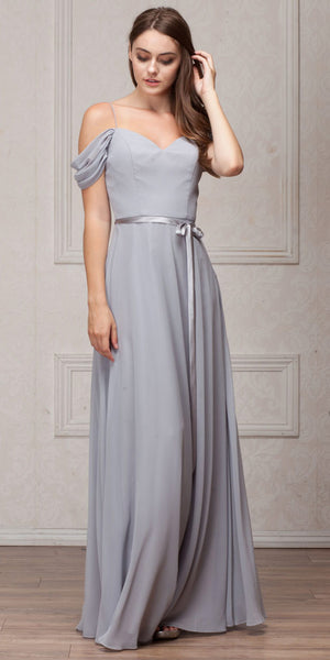 Image of Spaghetti Straps Cold-shoulder Long Bridesmaid Dress in Silver