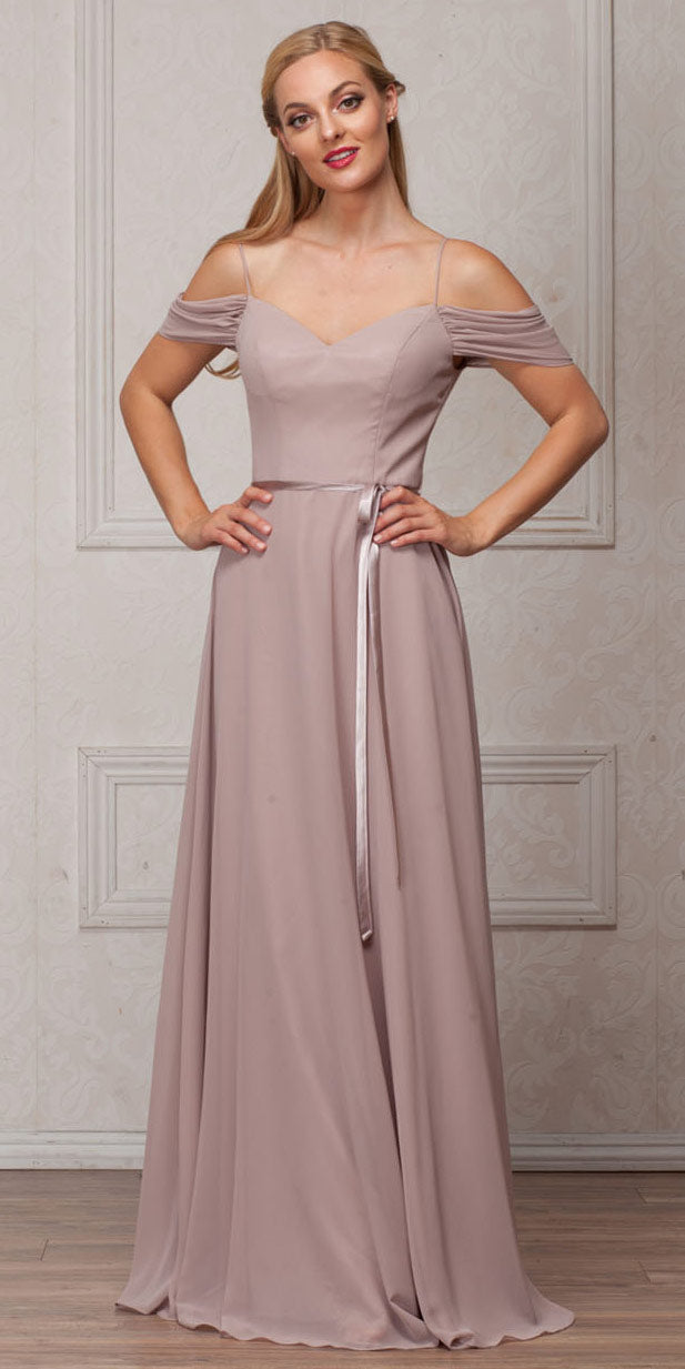 Image of Spaghetti Straps Cold-shoulder Long Bridesmaid Dress in Taupe