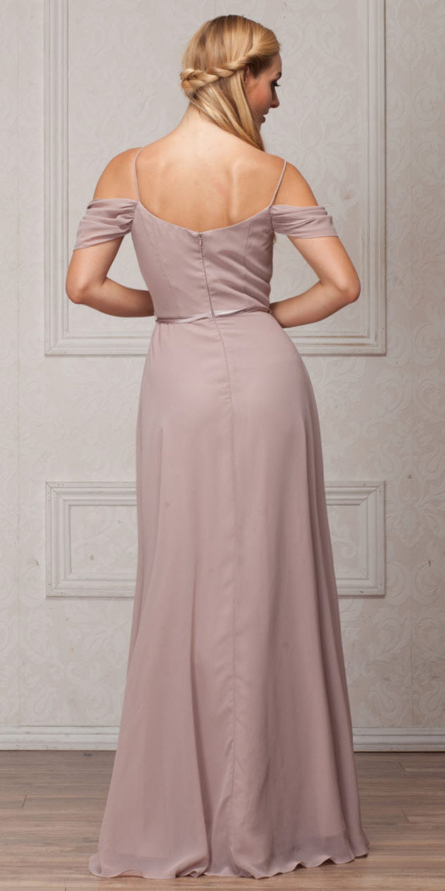 Back image of Spaghetti Straps Cold-shoulder Long Bridesmaid Dress