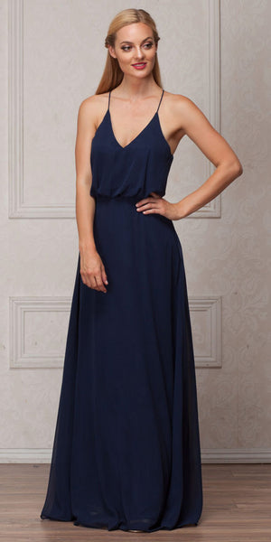 Image of Spaghetti Straps V-neck Blouson Top Long Bridesmaid Dress in Navy