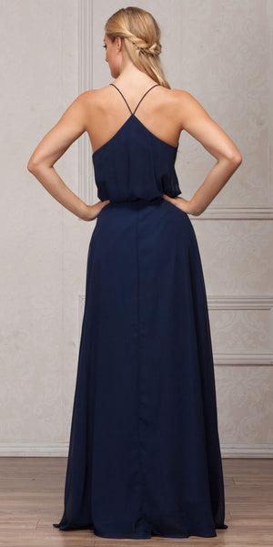 Back image of Spaghetti Straps V-neck Blouson Top Long Bridesmaid Dress