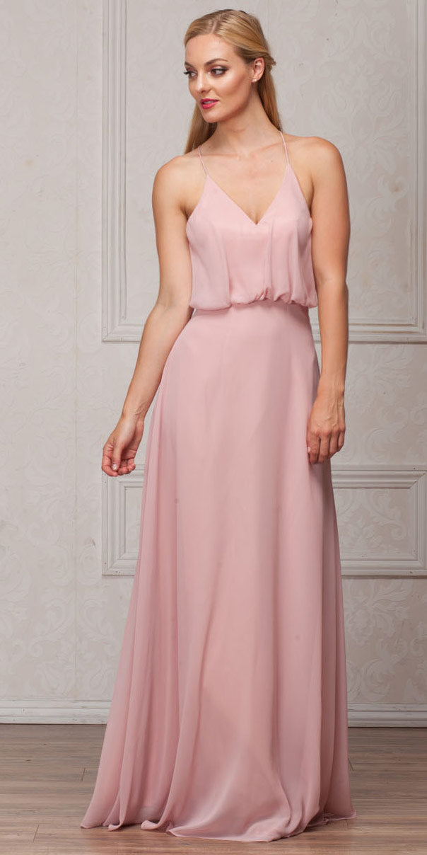 Main image of Spaghetti Straps V-neck Blouson Top Long Bridesmaid Dress