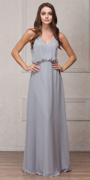 Image of Spaghetti Straps V-neck Blouson Top Long Bridesmaid Dress in Silver