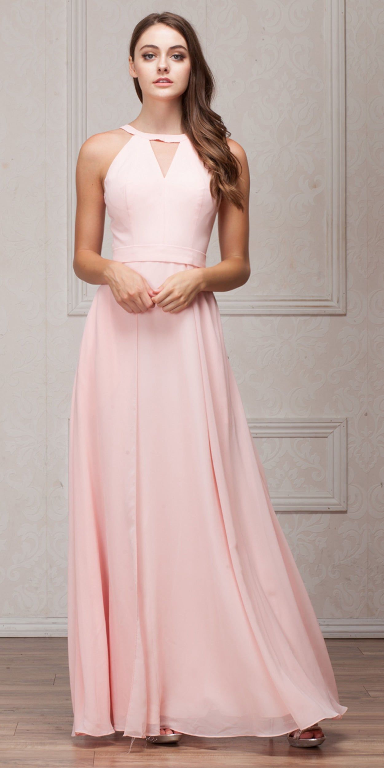 Image of High Round Neck Princess Cut Long Bridesmaid Dress in Blush