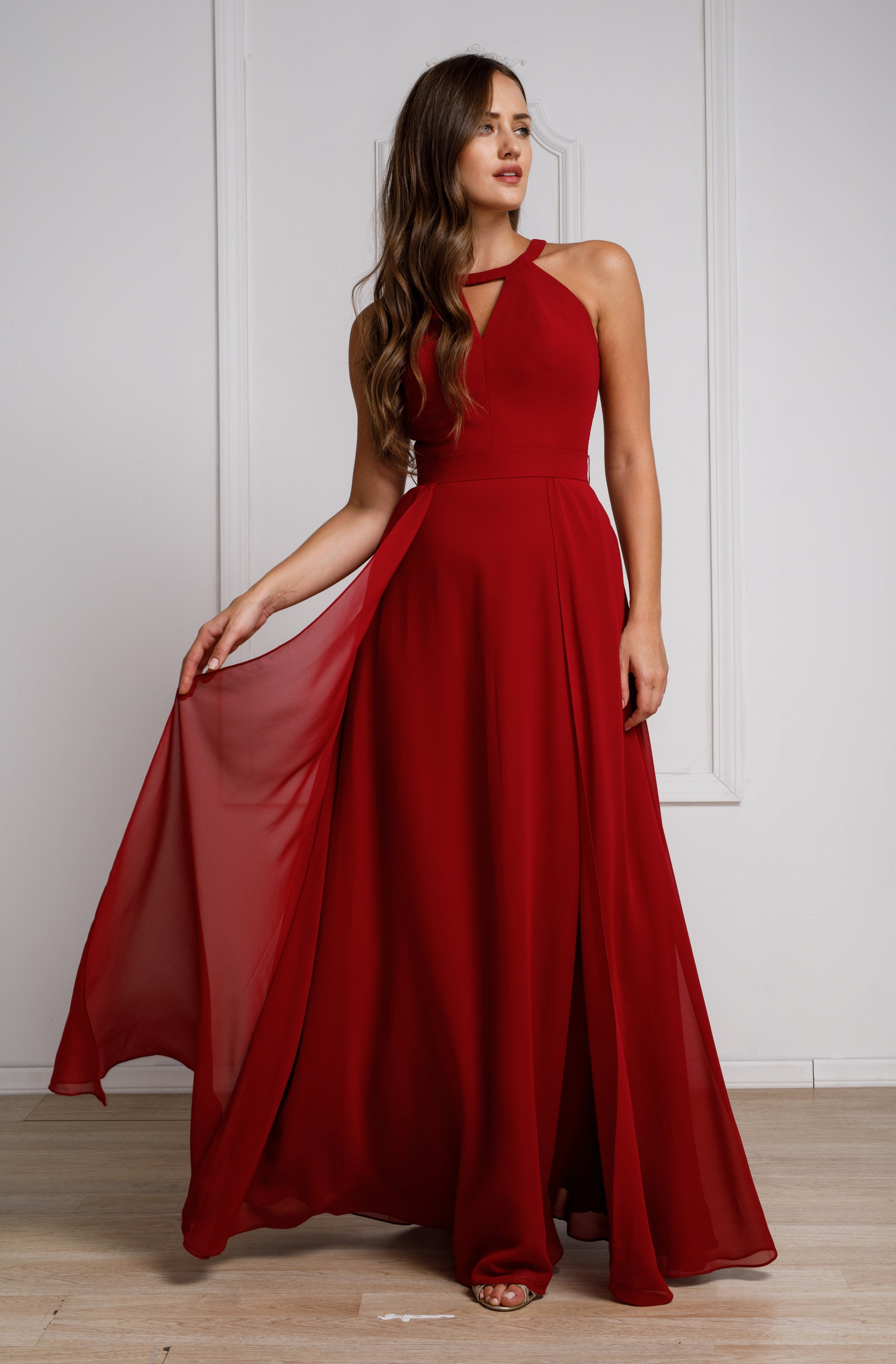 Image of High Round Neck Princess Cut Long Bridesmaid Dress in Burgundy