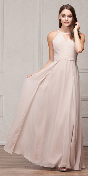 Image of High Round Neck Princess Cut Long Bridesmaid Dress in Champaign